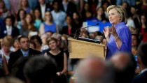 U.S. Democratic presidential candidate Hillary Clinton speaks at a campaign town hall meeting in Exeter, New Hampshire, August 10, 2015. Photo by Brian Snyder/Reuters