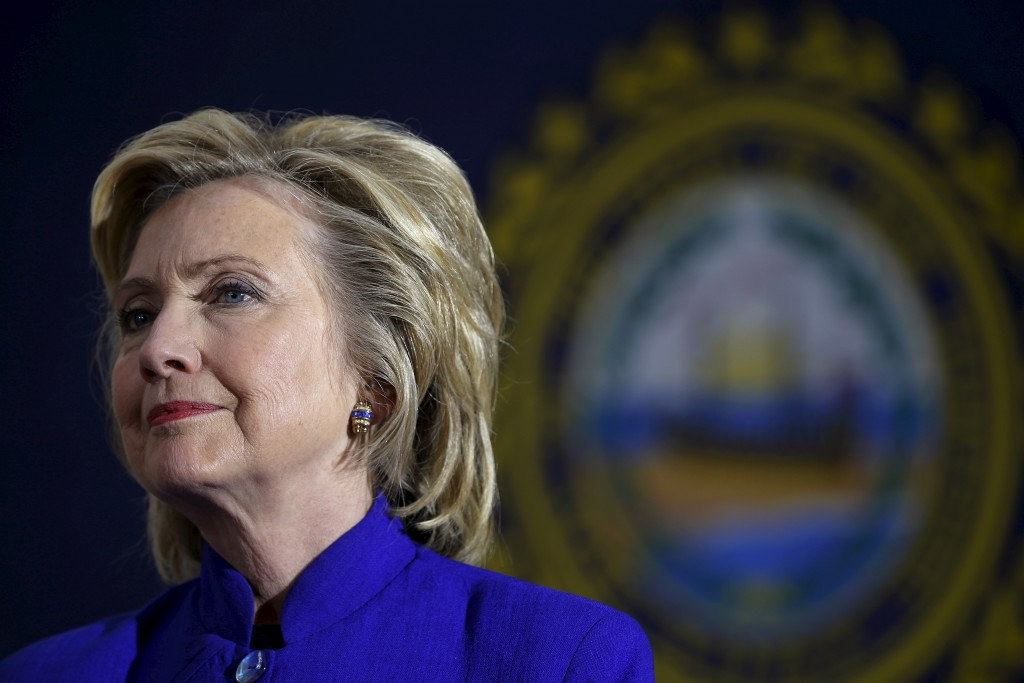 U.S. Democratic presidential candidate Hillary Clinton listens to a question from the audience during a community forum about substance abuse in Keene, New Hampshire August 11, 2015. Photo by Brian Snyder/Reuters