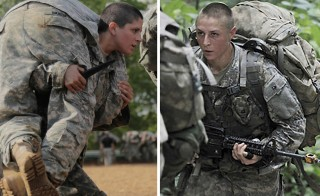 Then U.S. Army First Lieutenant Kirsten Griest, left, participates in combatives training at Fort Benning, and First Lieutenant Shaye Haver, right, takes part in Mountaineering training on Mount Yonah in Cleveland. Photo by U.S. Army/Handouts via Reuters