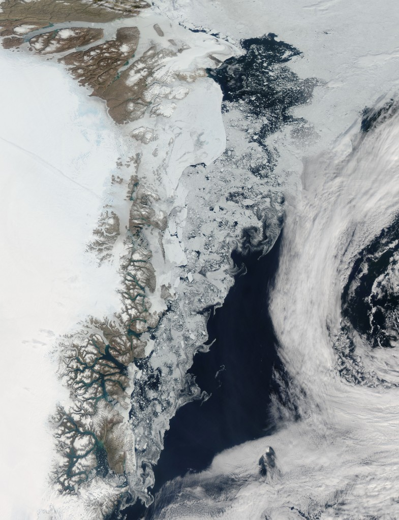 The Moderate Resolution Imaging Spectroradiometer (MODIS) aboard NASA's Aqua satellite image shows the sea ice off Greenland on July 16, 2015 in this image released on Aug. 24, 2015. As the northern hemisphere experiences the heat of summer, ice moves and melts in the Arctic waters and the far northern lands surrounding it. Photo: NASA handout via Reuters