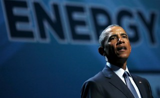 President Barack Obama addresses the National Clean Energy Summit at the Mandalay Bay Resort Convention Center in Las Vegas Monday. Photo by Carlos Barria/Reuters
