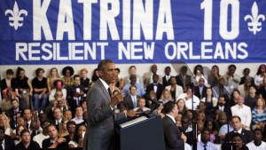 U.S. President Barack Obama delivers a speech at the Andrew P. Sanchez Community Center in Lower Ninth Ward of New Orleans, Louisiana, August 27, 2015. Obama heralded the progress New Orleans has made rebuilding since Hurricane Katrina battered the area 10 years ago but said more needed to be done to overcome poverty and inequality. REUTERS/Carlos Barria      TPX IMAGES OF THE DAY      - RTX1PYHB