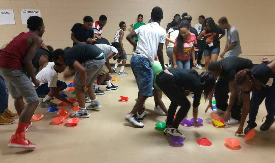 """KaBOOM! trained 38 youth """"play associates"""" in Baltimore to help run activity stations around the city in August 2015. Photo courtesy of KaBOOM!"""