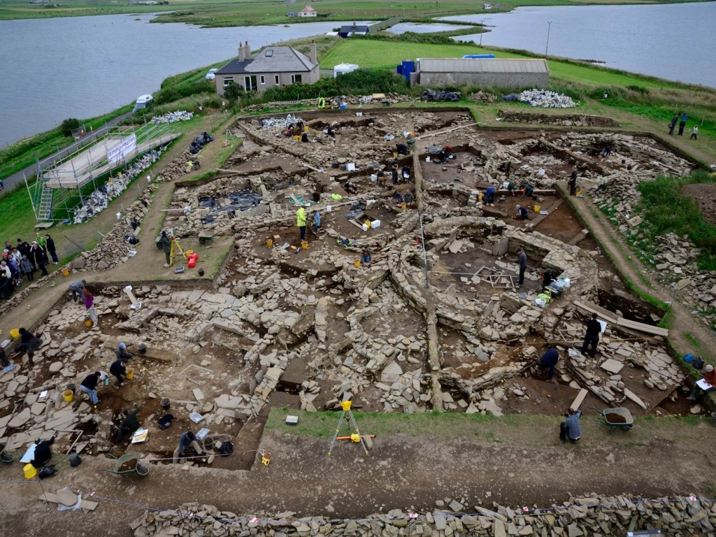 The Ness of Brodgar from the air in 2012. Photo courtesy Nick Card.