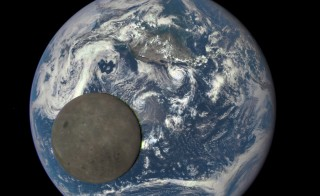 On August 7, 2015, NASA released images of a full moon and full Earth, showing the never-before-seen far side of the moon. Image by NASA, NOAA/DSCOVR