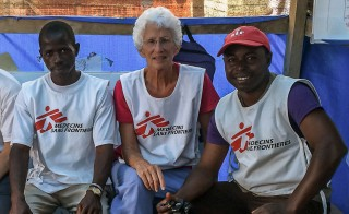 Nurse Kim Federici of Doctors Without Borders with members of her local staff in Foya, Liberia, in September 2014. Photo courtesy of Kim Federici