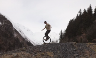 A rough-terrain unicyclist carries on his family's tradition. Photo courtesy of Alaska Public Media
