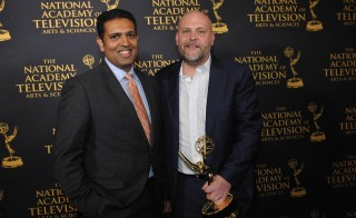 Hari Sreenivasan and NewsHour Foreign Affairs Editor Justin Kenny after Newshour's Emmy win.  Photo by Stephanie Berger.