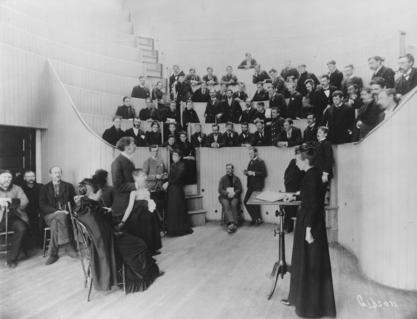Alice Hamilton in an anatomy class, circa 1893. Photo from Bentley Historical Library, University of Michigan