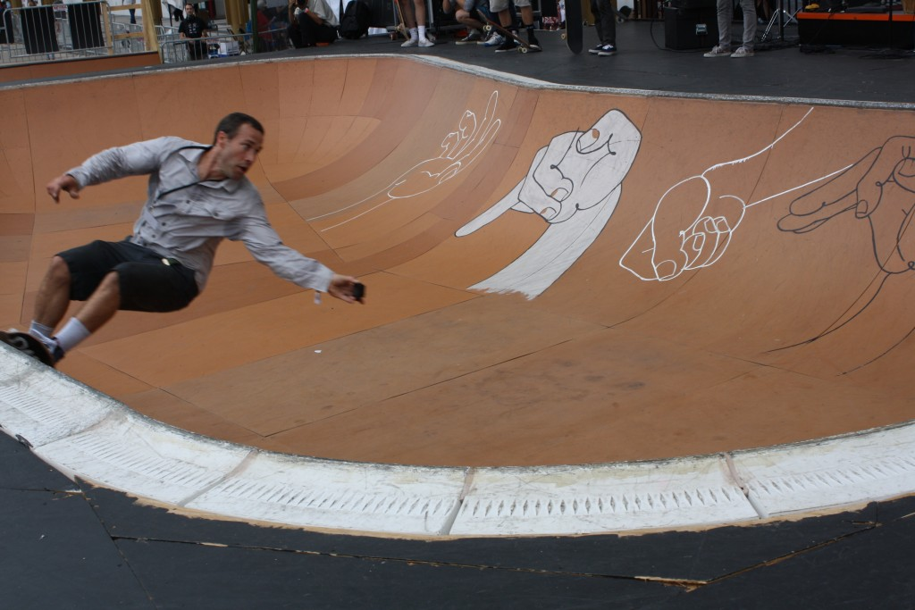 "Skaters in the bowl outside  the Kennedy Center at the ""Finding a Line"" festival on Sept. 10, 2015. Photo by Alexandra Hall"
