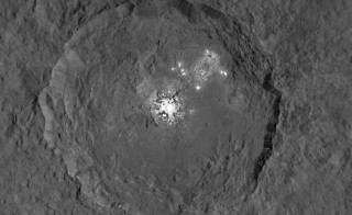 This image taken by NASA's Dawn spacecraft, shows Occator crater on Ceres, home to a collection of intriguing bright spots. Image by NASA/JPL-Caltech/UCLA/MPS/DLR/IDA