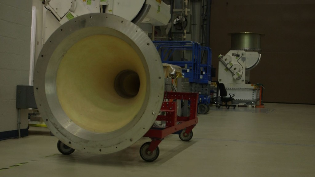 Speaker used to test satellites for vibration integrity at vacuum chamber at NASA Goddard Space Flight Center. Photo by Mike Fritz