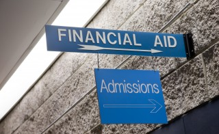Signs at a college reading, Financial Aid and Admissions