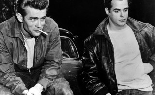 Movie icon James Dean (1931-1955) and co-star Corey Allen (who later went on to direct 'Star Trek: The Next Generation') in a scene from the Warner Brothers movie 'Rebel Without A Cause'.   (Photo by Keystone/Getty Images)
