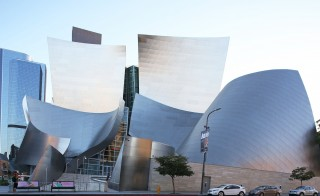 LOS ANGELES, CA - AUGUST 25: A view of the exterior of The Disney Concert Hall on Grand Avenue on August 25, 2015 in Los Angeles, California.  (Photo by FG/Bauer-Griffin/GC Images)
