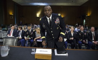 WASHINGTON, USA - SEPTEMBER 16:  General Lloyd J. Austin III, Commander of  U.S. Central Command, takes his seat before testifying at a Senate Armed Service Committee hearing on U.S. Military Operations to Counter the Islamic State in Iraq and the Levant with Under Secretary Of Defense For Policy Christine Worth in Washington, USA on September 16, 2015. (Photo by Samuel Corum/Anadolu Agency/Getty Images)