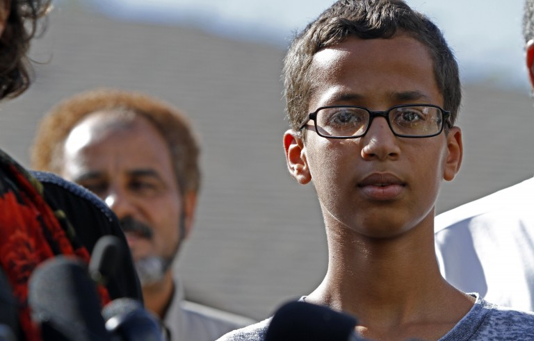 IRVING, TX - SEPTEMBER 16: 14-year-old Ahmed Ahmed Mohamed speaks during a news conference on September 16, 2015 in Irving, Texas. Mohammed was detained after a high school teacher falsely concluded that a homemade clock he brought to class might be a bomb. The news converence, held outside the Mohammed family home, was hosted by the North Texas Chapter of the Council on American-Islamic Relations. (Photo by Ben Torres/Getty Images)