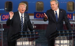 Republican presidential candidates Jeb Bush and Donald Trump frequently clashed during the presidential debates at the Reagan Library on September 16, 2015 in Simi Valley, California. Photo by Justin Sullivan/Getty Images