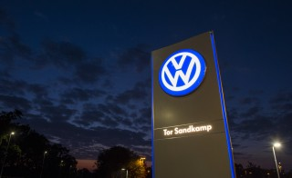 A logo of German car manufacturing giant Volkswagen is seen outside their headquarters in Wolfsburg on September 25, 2015. AFP PHOTO / JOHN MACDOUGALL        (Photo credit should read JOHN MACDOUGALL/AFP/Getty Images)