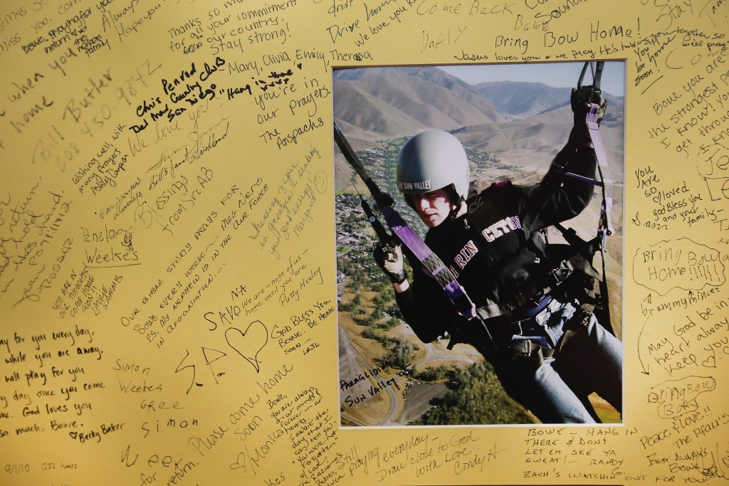 Well-wishers signed a poster on June 2, 2014, for U.S. Army Sgt. Bowe Bergdahl at Zaney's coffee shop in Hailey, Idaho, where he worked as a teenager. Bergdahl was captured in Afghanistan in 2009 while serving with the Army's 501st Parachute Infantry Regiment in Paktika Province, Afghanistan. He was released on May 31, 2014, in exchange for five Taliban members. Photo by Scott Olson/Getty Images