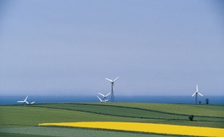 DENMARK - MAY 27: Wind turbines dotted between cultivated fields, Aero island, Denmark. (Photo by DeAgostini/Getty Images)