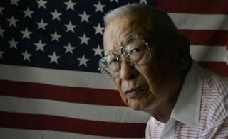 Ben Kuroki, 88, of Camarillo, will receive the Distinguished Service Medal during a ceremony Thursday August 11, 2005, 60 years after his meritorious service in WWII. Story tells how he had to fight, to fight for his country during the hysteria following Pearl Harbor. Kuroki, has the distinction of being the only Japanese–American known to have flown over Japan during World War II, the Distinguished Service Medal he will receive, is the third highest of the U.S. Army's decorations.  (Photo by Spencer Weiner/Los Angeles Times via Getty Images)