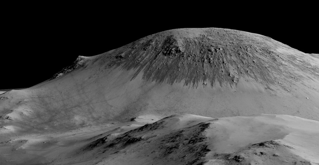 Planetary scientists detected hydrated salts on these slopes at Horowitz crater, corroborating their original hypothesis that the streaks are indeed formed by liquid water. Photo by NASA/JPL/University of Arizona