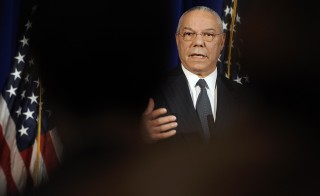 Former U.S. Secretary of State Colin Powell, co-chairman of the Presidential Inaugural Committee for US President-elect Barack Obama, speaks to reporters during a news conference to announce Obama's Renew America Together volunteer initiative, in Washington January 9, 2009 - RTR237ZJ