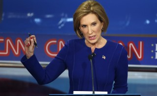 Republican presidential candidate and former Hewlett Packard CEO Carly Fiorina speaks during the second official Republican presidential candidates debate of the 2016 U.S. presidential campaign at the Ronald Reagan Presidential Library in Simi Valley, California, United States on Sept. 16, 2015. Photo by Lucy Nicholson/Reuters