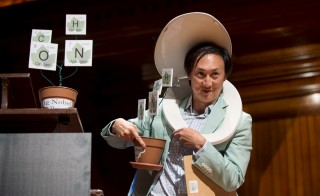Wearing a toilet seat on his head, David Hu, Associate Professor of Mechanical Engineering and Biology at Georgia Institute of Technology, walks away with his team's Ig Nobel Prize in Physics for testing the biological principle that nearly all mammals empty their bladders in about 21 seconds (plus or minus 13 seconds). The annual prizes are awarded by the Annals of Improbable Research as a whimsical counterpoint to the Nobel Prizes. Photo by Gretchen Ertl/Reuters