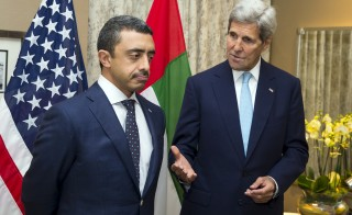 U.S. Secretary of State John Kerry (R) meets with United Arab Emirates Foreign Minister Abdullah bin Zayed about the ongoing Syrian crisis, in London, Britain, September 18, 2015. Photo by Evan Vucci/Reuters.