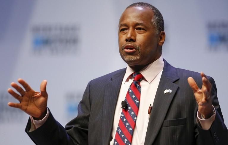 U.S. Republican candidate Dr. Ben Carson recently said he is opposed to Syrian refugees entering the US. REUTERS/Chris Keane - RTS1TKA