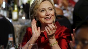 U.S. Democratic presidential candidate Hillary Clinton attends the Congressional Black Caucus Foundation's 45th Annual Legislative Conference Phoenix Awards Dinner in Washington September 19, 2015. REUTERS/Yuri Gripas - RTS1XWG