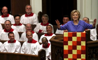 U.S. Democratic presidential candidate Hillary Clinton speaks at the Foundry United Methodist Church's bicentennial service in Washington September 13, 2015. Photo by Yuri Gripas/ REUTERS.