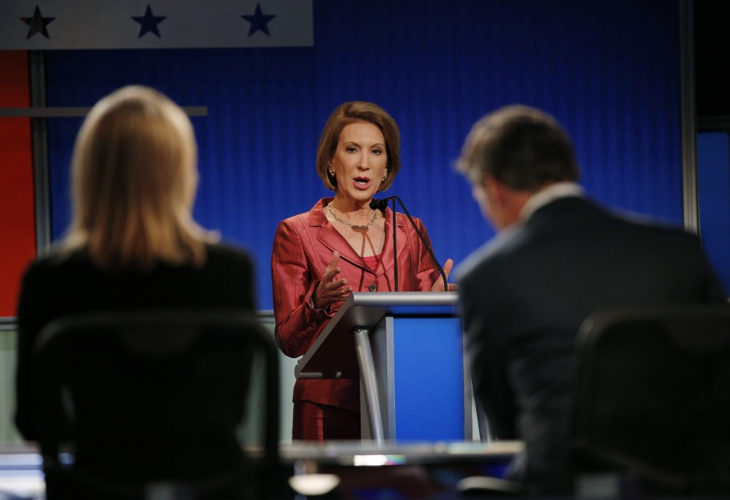 Republican presidential candidate Carly Fiorina at a Fox-sponsored forum for lower polling candidates in August. Photo by Brian Snyder/Reuters