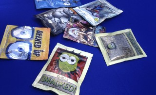 Packets of synthetic marijuana illegally sold in New York City are put on display at a news conference in August. Illegal synthetic marijuana is spreading across New York, particularly the city's homeless population in search of a cheap high but who often wind up hospitalized or dead, police say. Photo by Sebastien Malo/Reuters