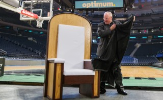 Archbishop of New York Timothy Michael Dolan unveiled a chair Wednesday that will be used in Madison Square Garden for Pope Francis' upcoming Papal Mass in New York.  Photo by Lucas Jackson/Reuters
