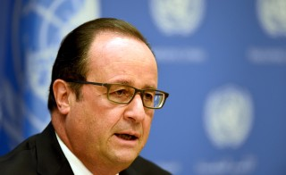 French President Francois Hollande speaks on French intervention in Syria during the 70th U.N. General Assembly in New York, on Sept. 27, 2015. Photo by Alain Jocard/Pool via Reuters