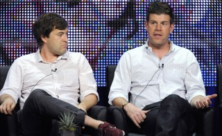 """Cast members Mark Duplass and Steve Rannazzisi (R) participate in the panel for """"The League"""" during the FX summer Television Critics Association press tour in Beverly Hills, California August 3, 2010. REUTERS/Phil McCarten (UNITED STATES - Tags: ENTERTAINMENT) - RTR2H0JO"""