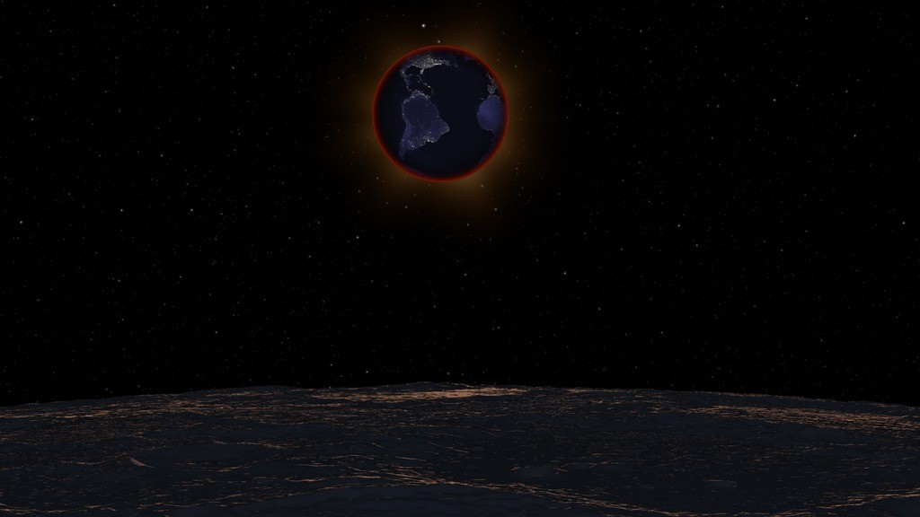 A lunar eclipse as seen from the moon. Graphic courtesy of NASA's Scientific Visualization studio