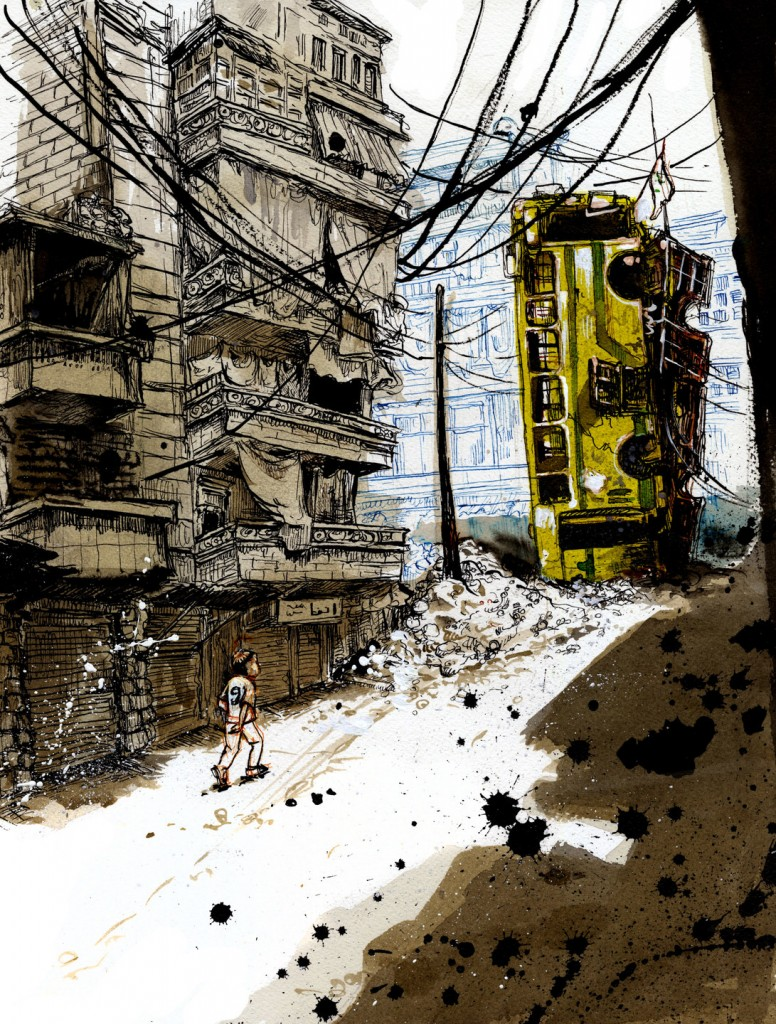 To block the view of snipers positioned just a few hundred meters away in the neighboring Masharqah, rebels and locals placed charred buses in between buildings in the entrances to the Bustan Al-Qasr battlefronts. Illustration by Molly Crabapple