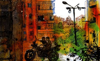 The front lines in Bustan Al-Qasr. In the background, regime-held Al-Iza'a neighborhood where snipers from both sides cover the area. Buildings at firing range are still inhabited by civilians. Illustration by Molly Crabapple