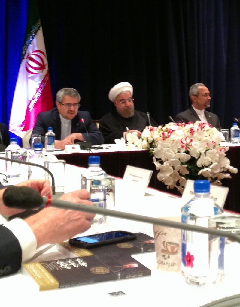 Hassan Rouhani at a meeting with the press in New York ahead of the U.N. General Assembly. Photo by Margaret Warner