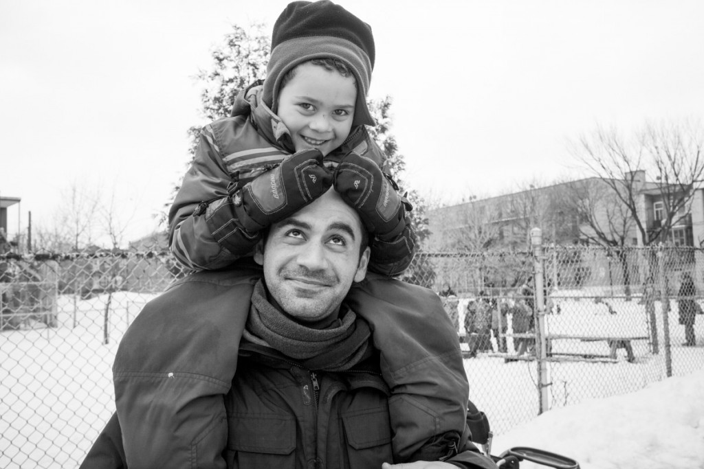 """Identity is rather a journey, a trajectory which is constantly changing. I would add that for me identity lies even more so in the sum of your life experiences,"" film director Samer Najari, pictured here with his son Francesco in Montreal in 2014, told Shoufan. ""As for my children, my hope is that I will be able to cultivate their curiosity about the world and that I will help them learn to be open to all differences."" Photo by Youssef Shoufan"