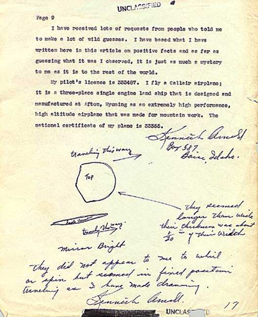Kenneth Arnold submitted this letter, complete with rough sketches of the flying objects he saw, to the Army Air Force on July 12, 1947. Image courtesy of Wikimedia Commons