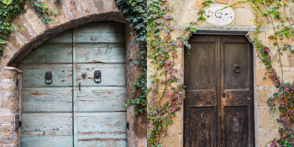 A pair of doors in Civita di Bagnoregio, a small town in Central Italy that dates back 2500 years. Photo by Frank Carlson
