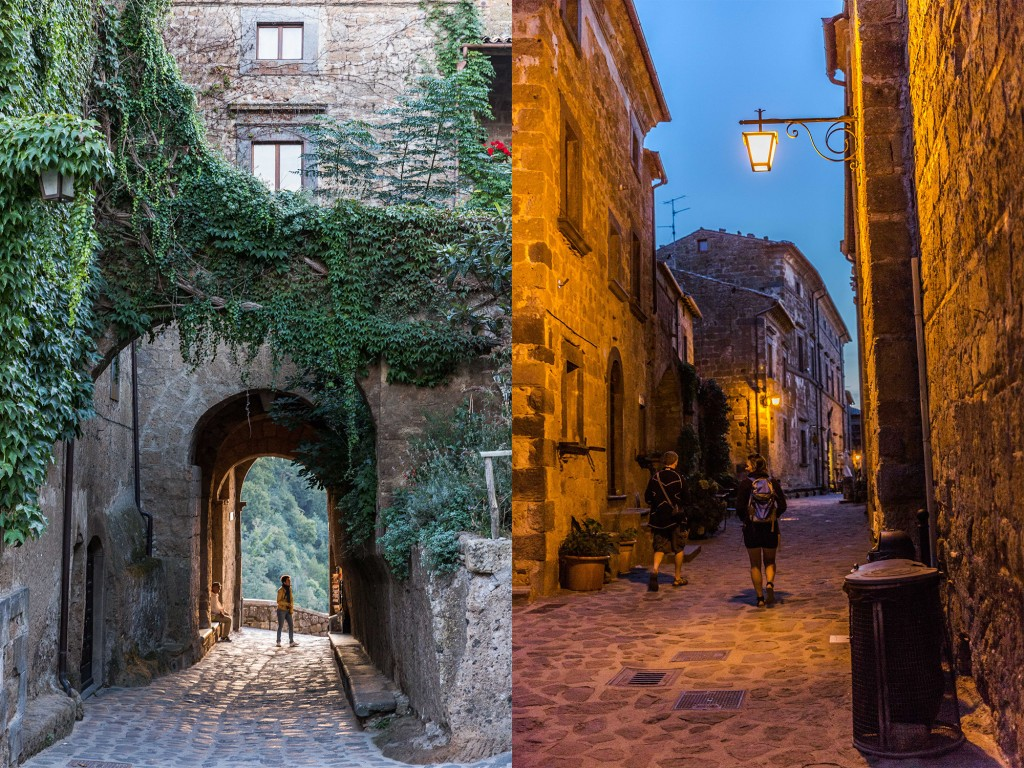 Tourists linger in Civita di Bagnoregio as the sun goes down. Photo by Frank Carlson
