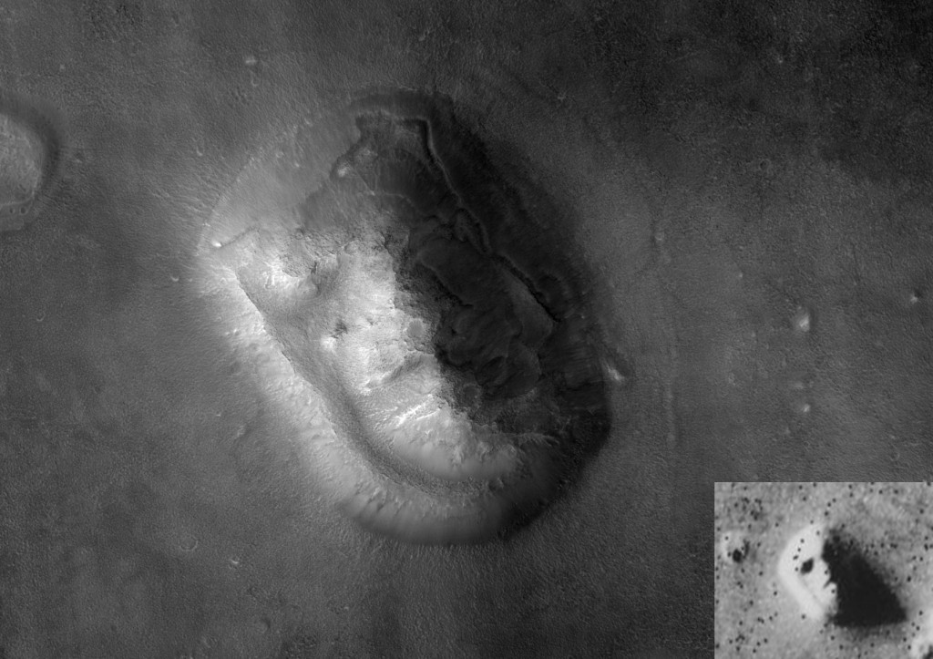 "This is a hi-res image of the same ""face"" that NASA captured in 1976. There's not a human face there anymore. Image courtesy of NASA/JPL/University of Arizona"