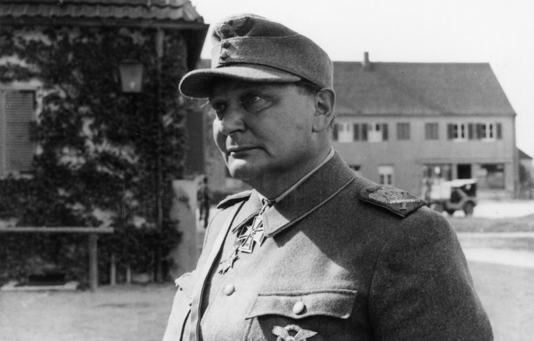 14th May 1945:  Nazi leader Hermann Goering (1893 - 1946) arriving at a detention camp in Augsburg, Germany.  (Photo by Fox Photos/Getty Images)