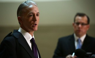 WASHINGTON, DC - SEPTEMBER 03:  Committee chairman Rep. Trey Gowdy (L) (R-SC) speaks to members of the media prior to a closed-door deposition before the House Select Committee on Benghazi September 3, 2015 on Capitol Hill in Washington, DC. Cheryl Mills, Hillary Clinton's chief of staff at the State Department,  was interviewed regarding Hillary Clinton's private email server controversy during her time as the secretary of State.  (Photo by Alex Wong/Getty Images)